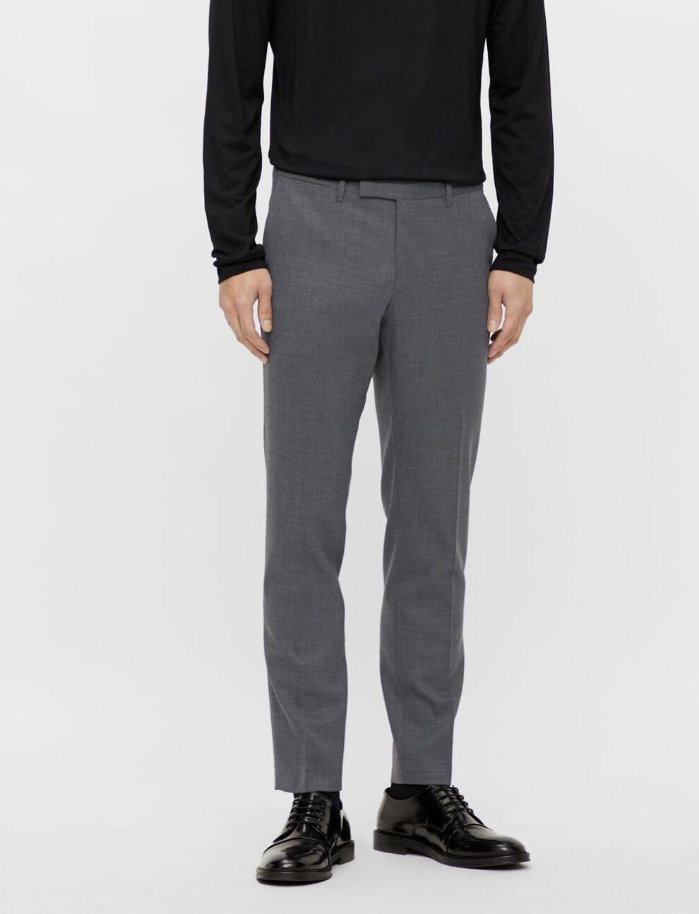 J. LINDEBERG Grant Micro Str grå dressbukse til herre